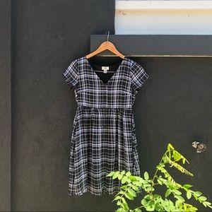 Plaid Babydoll Button-up Dress